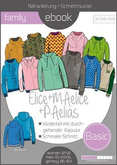 Knitting Patterns Hoodie Family Ebook Hoodie Elice_MAelice_PAelias – Sewing Pattern and Instructions as PDF File – Many Ebo … T Shirt Sewing Pattern, Tunic Sewing Patterns, Plus Size Sewing Patterns, Vintage Sewing Patterns, Knitting Patterns, Paper Patterns, Free Sewing, Sewing Tutorials, Sewing Ideas