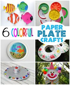 6 colorful paper plate crafts.  My kids LOVED these!!
