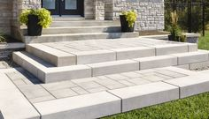 Trust us for quality interlocking pavers retaining wall blocks landscaping sto Patio Steps, Outdoor Steps, Front Porch Stairs, Front Door Steps, Front Steps Stone, Front Walkway Landscaping, Outdoor Landscaping, Landscaping Ideas, Pavers Patio