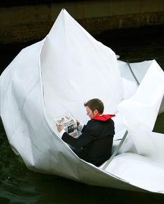 Origami Boat: Frank Bolter folded this boat from paper and sailed it on the Thames.