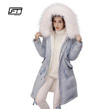 210c2b1e590d9 Fitaylor Winter Women Long Thick Warm Cotton Jacket Hooded Coat Female Fur  Collar Slim Jacket Ladies