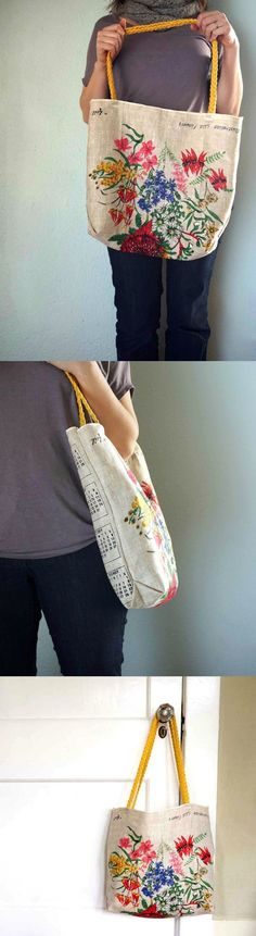 Learn how to make a DIY tote from a thrift store tea towel find. This bag is so easy, cute, and budget friendly. You don't even need a pattern!
