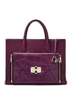 LOVE THIS...rich color and large size for work would be awesome!! DVF Secret Agent Large Leather and Croc Tote in Eggplant