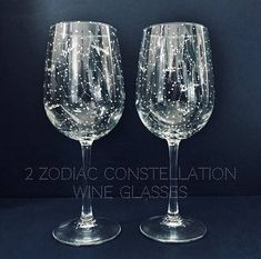 Handpainted zodiac constellation wine glasses - perfect for anyone on your guest list! Because even if you don't know their sign - we have you covered ;) Each glass has 6 of the 12 zodiac constellations on it - so when used together they have all 12 zodiac signs! Each constellation is labeled so you can clearly identify which is your sign.