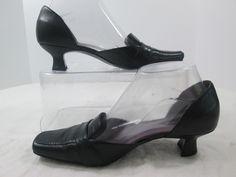 Liz Claiborne Gayle Flex Leather Black Cut Outs Kitten Heels Pumps Shoe 7.5 M #LizClaiborne #PumpsClassics #Casual