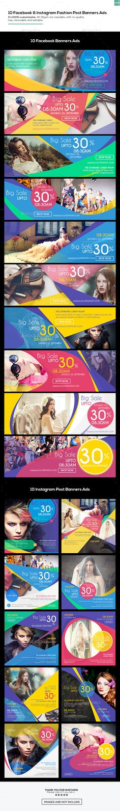 10 Facebook Cover & 10 Instagram Fashion Post Banners Ads Templates PSD #promotion Download here: https://graphicriver.net/item/10-facebook-cover-10-instagram-fashion-post-banners-ads/17656114?ref=ksioks