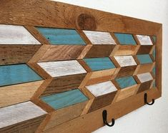 This item is unavailable : Excited to share this item from my shop: Reclaimed Wood Coat Rack- READY TO SHIP Reclaimed Wood Wall Art, Wood Wall Decor, Wooden Wall Art, Diy Wall Art, Old Wood Projects, Wood Crafts, Wood Mosaic, Floating Shelves Diy, Wood Turning
