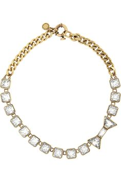 Marc by Marc Jacobs|Brass and crystal bow necklace