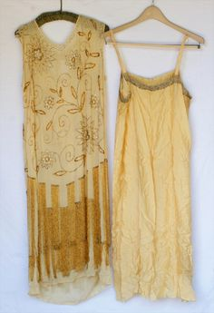 Yellow Flapper Dress, with slip, 1920's
