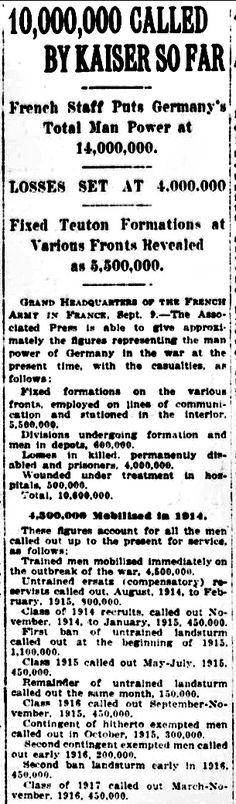 WWI, 11 Sept 1917, The Sun, New York