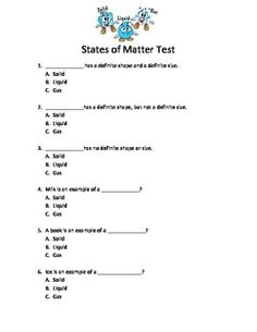 States of Matter Test States Of Matter Worksheet, Matter Worksheets, 2nd Grade Math Worksheets, Science Worksheets, Primary Science, Teaching Science, Science Facts, Science Lessons, Ged Study Guide