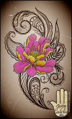 Lotus Flower femenine tattoo idea design, with mendi and lace patterns by Dzeraldas Kudrevicius, Atlantic Coast Tattoo, Newquay cornwall