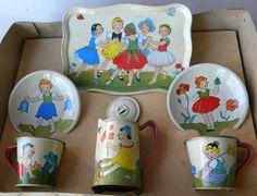Vintage 7pc Litho Tin Toy TEA Pot SET Spring Flower Girl Costumes Germany German
