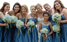 Hydrangea bouquets and and blue dresses Found on Weddingbee.com