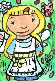 Alice in Wonderland ACEO Painting ACEO Collectible Fairy Tale Fantasy Art Wonderland Illustration Alice ACEO Nursery Decor by Niina Niskanen Acrylic Artwork, Paper Artwork, Acrylic Paintings, Nursery Art, Nursery Decor, Original Artwork, Original Paintings, Artist Card, Fairytale Fantasies