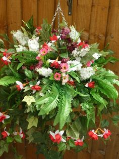 Hanging basket with artificial white fuchsia & ferns