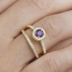 14k gold engangement ring, 14k solitaire ring,CZ halo ring,  Micropave ring,  Amethyst solitaire ring, Peridot solitaire ring