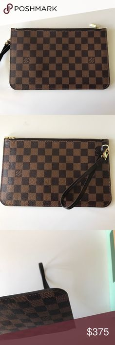 Louis Vuitton Neverfull MM/GM Pouch - Damier Ebene Like new condition!! This is just the pouch that comes with the Louis Vuitton Neverfull MM or GM. There are some very minor signs of corner wear (see photos). I included a photo of the original Neverfull receipt and tag card. PLEASE NOTE that I will include a COPY of receipt and tag but not the order original. Louis Vuitton Bags Clutches & Wristlets