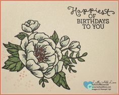 """Set of 4 handmade cards featuring Birthday Blooms stamp set. Blank inside for your personal message. Includes envelopes with matching """"For You"""" sentiment. Back of card features artist information and"""