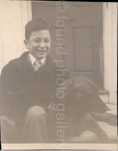 rVintage Photo Boy and His Dog Snapshot Black by foundphotogallery