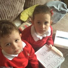 Dad pretends to buy kids iPad - but inside is a note saying April Fool