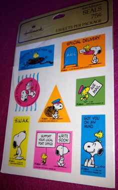 1980 Peanuts stickers. SIGH. Remember when Hallmark had the most amazing assortment of stickers? Remember when you'd get a pack of 4 or 8 sheets for a couple of bucks? I MISS THOSE DAYS!!!