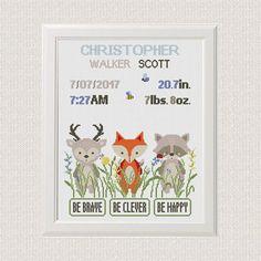 Cross Stitch Pattern Baby Animals Personalized DIY gift Fox