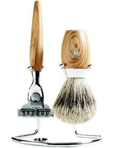 olive wood razor and shaving brush. Shaving Set, Wet Shaving, Shaving Brush, Man Of The House, Manicure Set, Design Within Reach, Grooming Kit, Natural Deodorant, Gentleman Style