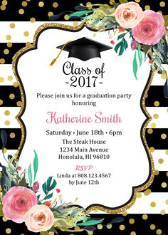 Floral graduation invitation pink gold black rustic floral graduation invitation for girls graduation party invitation high school graduation college graduation 2017 grad printable invitation g1 stopboris