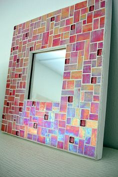 pink iridescent mirror Mosaic Art, Garden Art, Iridescent, Diy Ideas, Art Pieces, Moon, Mirror, Studio, Frame