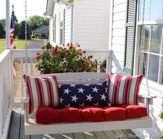 14. #Seasonal Pillows - 25 #Relaxing Porch #Swings for Your Relaxing Pleasure ... → DIY #Chairs... Christmas pillows... Duh.