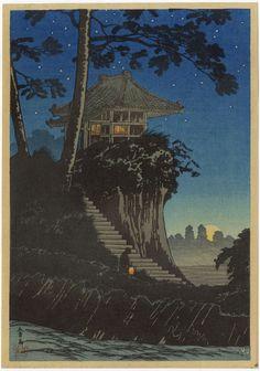 Shotei Japanese Woodblock Print Moonrise Temple 1936 Hiroaki   eBay