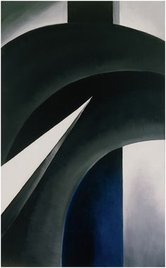 Georgia O'Keeffe, Black White and Blue, Oil on canvas, 48 × 30 in. Collection of Barney A. © Georgia O'Keeffe Museum/Artist Rights Society (ARS), New York Santa Fe, Alfred Stieglitz, Wisconsin, New Mexico, Georgia O'keefe Art, Georgia O Keeffe Paintings, Sun Prairie, Franz Kline, Whitney Museum