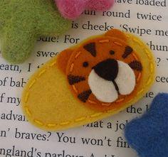Wool felt hair clip Sweet potato tiger mini yellow by MayCrimson, $5.00