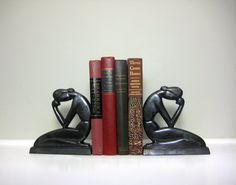 Vintage Art Deco Bookends (Bronze, Black Metal Stylized Lady)