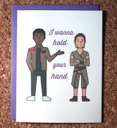 Star Wars Card / Force Awakens Rey Finn / I wanna hold your hand / Valentine…