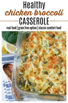 (ad) This Healthy Chicken Broccoli Casserole is a comforting classic! Its easy to make protein packed loaded with broccoli and full of herby aromatics. It has a special real food secret ingredient and bakes in less than an hour. Healthy Casserole Recipes, Healthy Chicken Recipes, Real Food Recipes, Cooking Recipes, Free Recipes, Brocoli Casserole Recipes, Keto Recipes, Chicken Protein, Casseroles Healthy