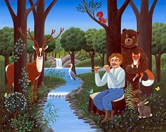 Ecological Serenade by Jean-Pierre Lorand Naive Art, Ecology, Folk Art, Whimsical, Illustration Art, Disney Characters, Gallery, Beryl Cook, Nature