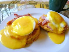 EGGS BENEDICT - HOLLANDAISE SAUCE RECIPE BELOW            Egg, Ham and Cheese Muffin - click to see recipe       English Muffin - click t...