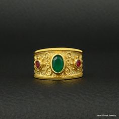 Natural Green Onyx & Ruby Cz Ring Byzantine Style 925 Sterling Silver 22K Gold Plated Greek Handmade Art Rare Luxury