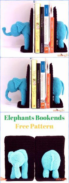 Crochet Elephant Bookends Free Pattern - Crochet Elephant Free Patterns