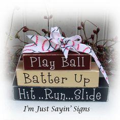 Baseball Itty Bitty Wood Blocks Sign by ImJustSayinSigns on Etsy, $11.45