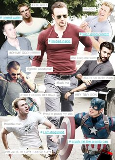 catstiel: [chris evans in a tight shirt surrounded by smaller chris evans in tighter shirts feat. actual tags on photos of chris evans] ☆ ☆
