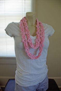Crochet Flower Chain Mobius Scarf