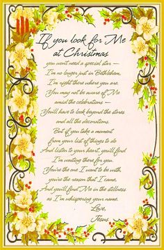 """""""If You Look for Me at Christmas"""" Poem Christmas Tree Poem, Merry Christmas Greetings, Christmas Quotes, Christmas And New Year, White Christmas, Christmas Crafts, Verses For Cards, Santa Baby, Favorite Holiday"""