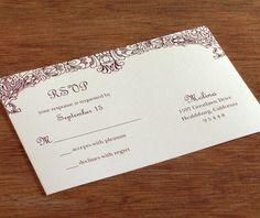 graceful rococo floral swag on merlot red printed rsvp postcard | Invitations by Ajalon | invitationsbyajalon.com