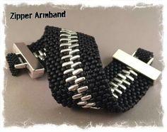 Zipper armband - seed beads and.bars