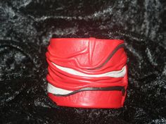 Soft Genuine Leather Cuff Bracelet  - red, black and grey