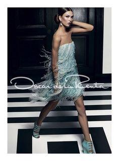 Oscar de la Renta spring ad campaign, mint flapper dress, trend