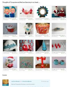Retro Red and Turquoise Christmas, Vintage Christmas  http://etsy.me/1WEZ26O